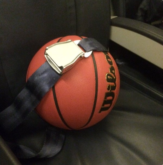"Gonzaga basketball managers tweeted, ""Safety first! The game ball that sent the Zags to the Sweet Sixteen is making its way back to Spokane #NotDoneYet"""