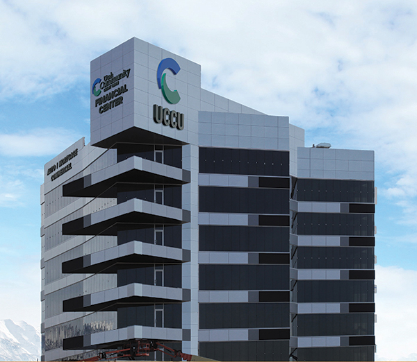 UCCU is celebrating its 60th year with a new headquarters in Lehi, shown in this rendering.
