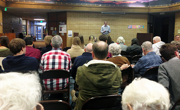Voters from Precinct 11 meet at Wasatch Elementary School for the Utah Republican Caucus on Tuesday night.