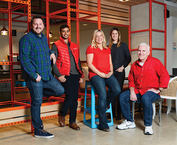 Google Fiber's offices are a little bit Utah, a little bit California. Devin Baer, far left, is the head of business operations and the associate city manager at Google Fiber.