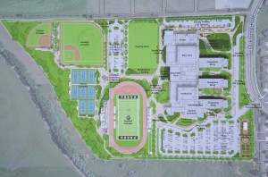 The building plan for the new Provo High shows three wings for students and two gyms. (Click on image to enlarge.)