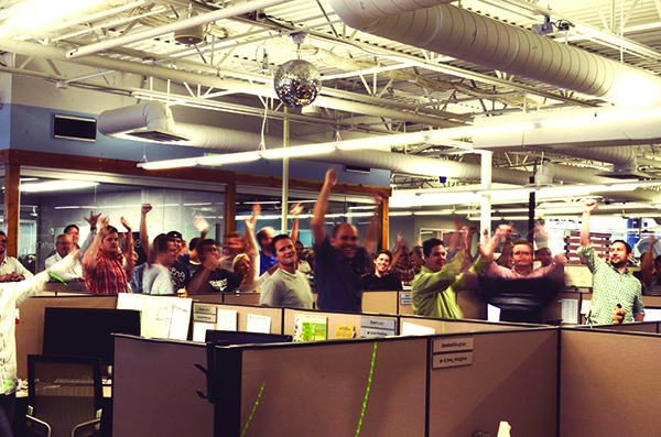 The Domo sales team celebrates every sale with a disco dance party.