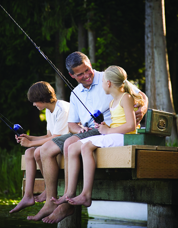 Father Fishing with Kids