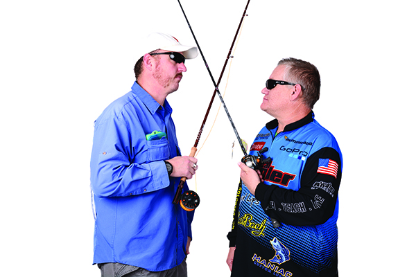 Dave Ballou (left) of Lehi and Clif Gallagher of Eagle Mountain are both passionate about fishing and enjoy the challenge Mother Nature poses. They each take a different approach to which fish they catch and the way they reel them in. (Photo by Dave Blackhurst)