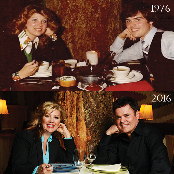 Debbie and Donny Osmond at the Sundance Tree Room at top in 1976 and on the bottom in 2016. (Photo by Dave Blackhurst)