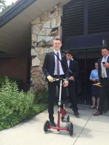 On Sunday, Elder Mason Wells reported on his mission that got cut short by the Brussels Airport bombing. Wells returns to the hospital this week for more surgeries.