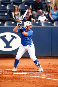 In 8th grade, Libby Sugg won a home-run hitting challenge at a BYU softball camp. (Photo by BYU Photo)