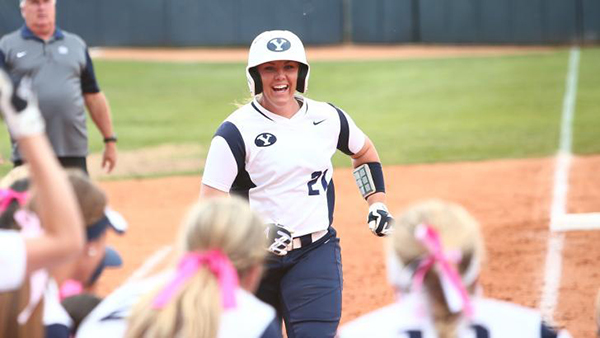 BYU freshman catcher Libby Sugg leads the WCC in home runs (17) and RBI (54). She ranks among the Top 25 nationally in both home runs and home runs per game (0.31). (Photo by BYU Photo)
