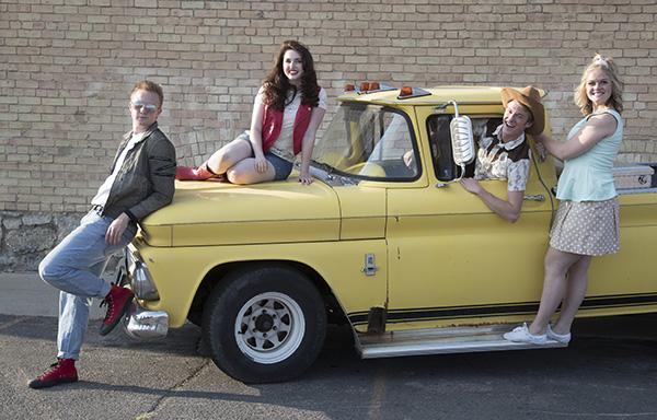 """""""Footloose: The Musical"""" is at the SCERA Shell Outdoor Theatre through July 16. Pictured here from left: Jake Thompson (Ren), Kelsea Kocherhans (Ariel), McKay Elwood (Willard) and McKenna Hixson (Rusty). (Photo by Mark A. Philbrick)"""