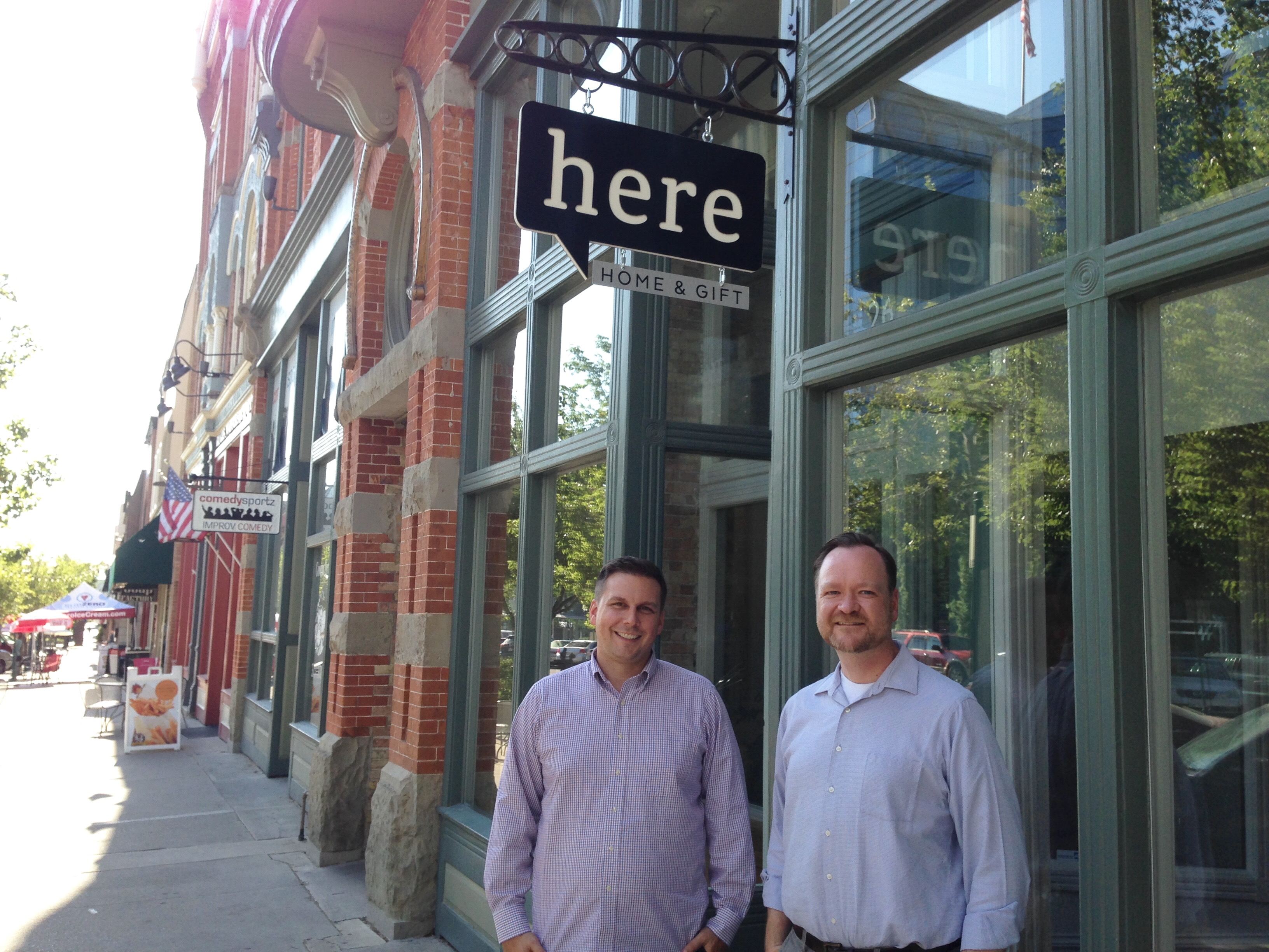 Here Provo owners Scott Campbell, left, and Jed Platt seek to offer a gathering place and sense of home with Here Provo, their new gift shop that opens Thursday, June 30, on Center Street in Provo. (Photo by Christa Woodall)