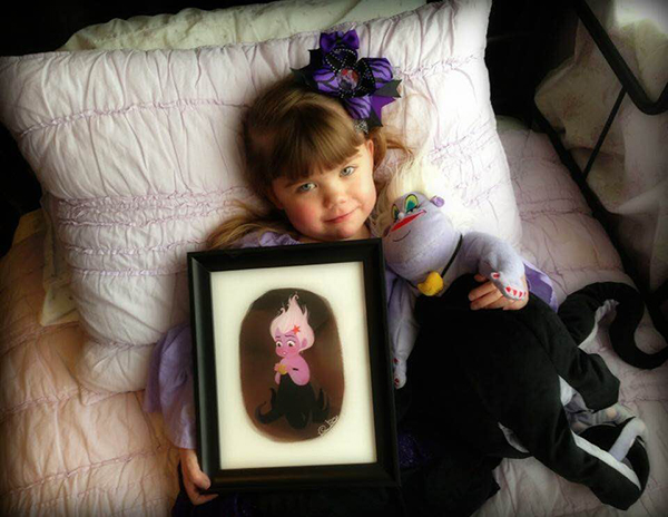 """Four-year-old Lily Poole has five rare congenital heart defects, but has found support in the Disney villain Ursula. When Lily wasn't going to be able to meet Ursula at Disney World, the SCERA's cast of """"The Little Mermaid"""" stepped in to fly Lily in from her home in Philadelphia, Pennsylvania for their show on Thursday. (Photo courtesy Angela Poole's Facebook)"""