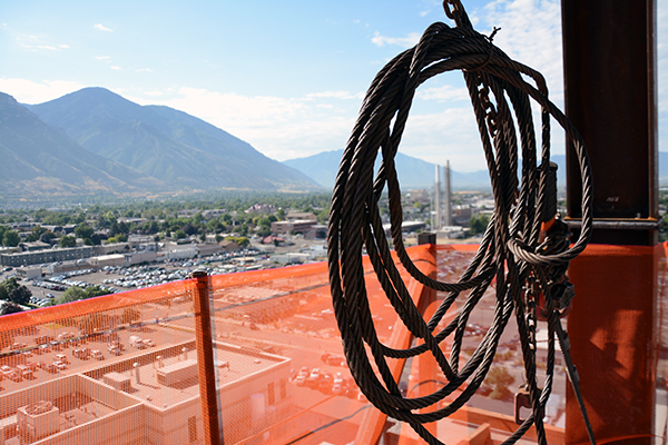 Provo view through a loop, Utah Valley Hospital, patient tower