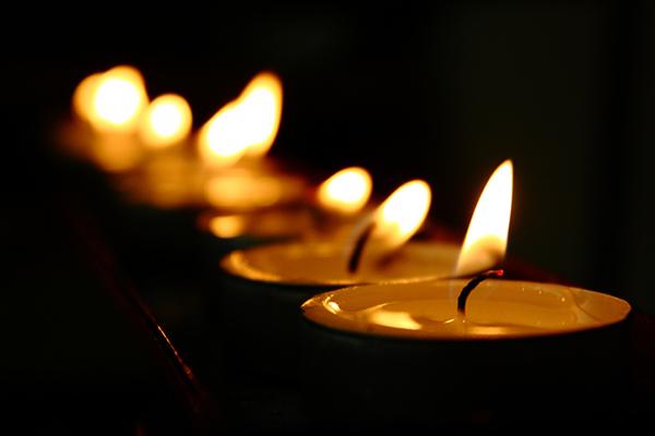 Tea light votive candles in a Catholic Church