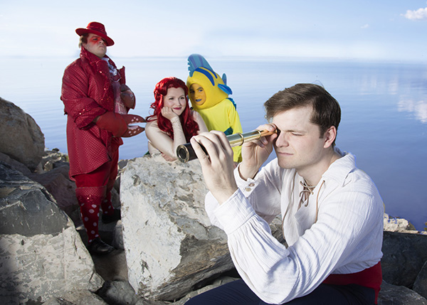 """The Little Mermaid"" cast includes from left to right: Kyle Baugh as Sebastian, Hannah Bayles as Ariel, Samuel Murdock as Flounder, Cameron Smith as Prince Eric. (Photo by Mark A. Philbrick)"