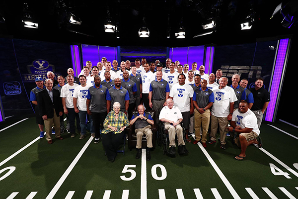The 1996 Cotton Bowl team reunited at BYU Media Day on Thursday. (Photo by BYU Photo)