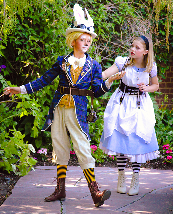 """Emily McKell (White Rabbit) and Elise Jones (Alice)are part of the Hale Center Theater Orem's production of """"Alice in Wonderland Jr."""" (Photo by Lizzy Dabczynski-Bean)"""