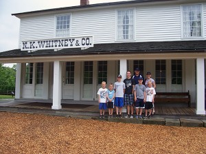 Jeff Call and his family stand outside of the Newel K. Whitney Store in Kirkland, Ohio. (Photo courtesy Jeff Call)