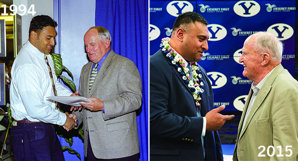 "During Kalani's freshman season as a Cougar running back, LaVell Edwards called him into his office and encouraged him to go on a mission. He turned in his papers two weeks later. Kalani's last game as a Cougar was also LaVell's last game as a coach. Kalani called LaVell after being hired, and LaVell just told him to ""be yourself."" Before the press conference, Kalani turned to his wife for advice because she had helped him prepare for the interview. ""You're on your own now,"" she laughed. (Photo by Mark Philbrick/BYU)"