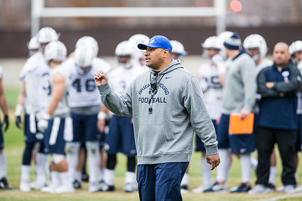 BYU head football coach Kalani Sitake will lead the Cougars for the first time in the season opener against Arizona on Saturday, Sept. 3. Six of BYU's previous 13 head coaches won their first game leading the Cougars. (Photo by  Jaren Wilkey/BYU)