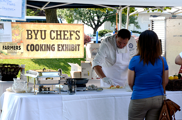 The LaVell Edwards Stadium Farmers Market has added Food Fest, stands and food trucks with ready-to-eat food. (Photo by Rebecca Lane)