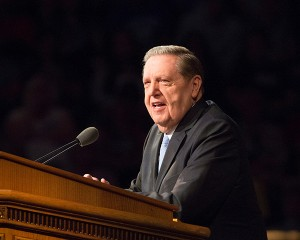 "Elder Holland addressed a concern he had after reading a study by Will and Ariel Durrant. The Durrants said, ""There is no significant example in history of (any) society successfully maintaining moral life without the aid of religion."" (Photo by Mark A. Philbrick/BYU Photo)"