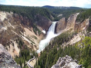 The stunning Lower Falls of the Yellowstone River carve out the beginning of the Grand Canyon of Yellowstone. (Photo by Christa Woodall)