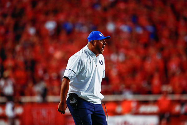 BYU head football coach Kalani Sitake yells during the BYU-Utah football game on Saturday at Rice-Eccles Stadium. BYU lost 20–19 to Utah. (Photo by BYU Photo)