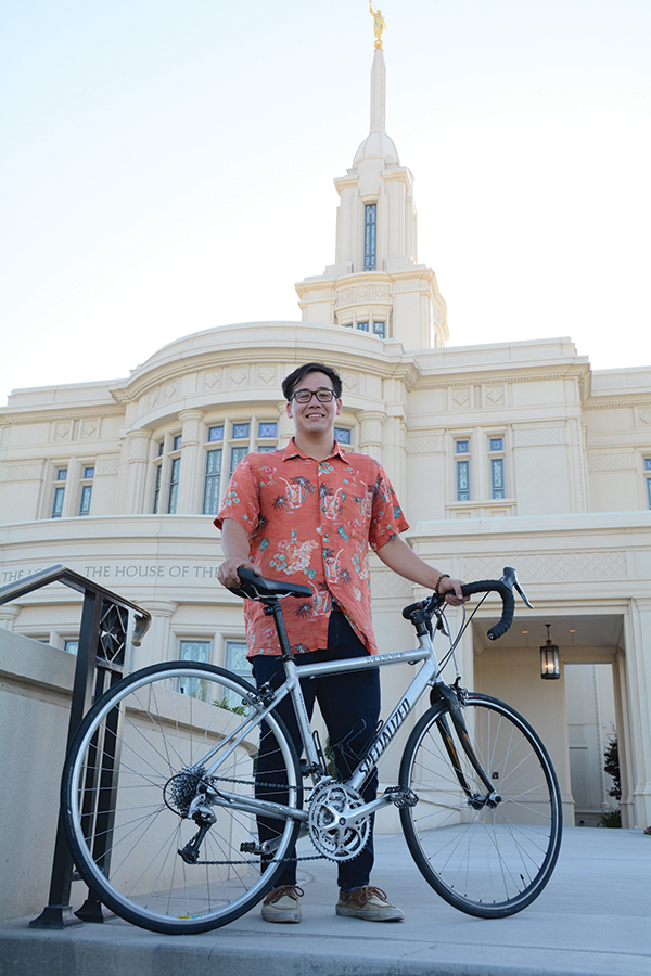 Dalin Earls sported his orange shirt across Utah as a way of bringing along his brother, who is serving as an LDS missionary in Hong Kong. The Payson Temple was one of 17 Dalin saw during his 15-day, 1,174-mile journey to visit every LDS temple in the state.