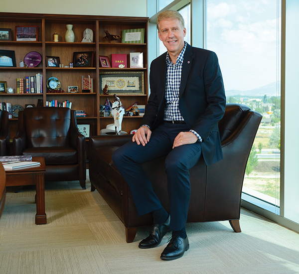"A PLEASANT HOME doTERRA founder David Stirling loves looking out his office window and seeing Pleasant Grove. ""This city has been so good to us,"" says Stirling, who was born and raised in PG. ""Building my business here has been a full-circle moment for me."" (Photo by Dave Blackhurst/UV Mag)"