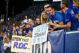 Students in BYU's student section, the ROC, hold up a sign for Jamaal Williams. (Photo by BYU Photo)