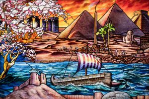 """Panel D-2, which includes depictions of Stonehenge, a camel caravan, the Pyramids of Giza and a Phoenician ship, was among the """"Roots of Knowledge"""" panels to travel to New York City for display in October. (Photo courtesy of UVU Marketing)"""