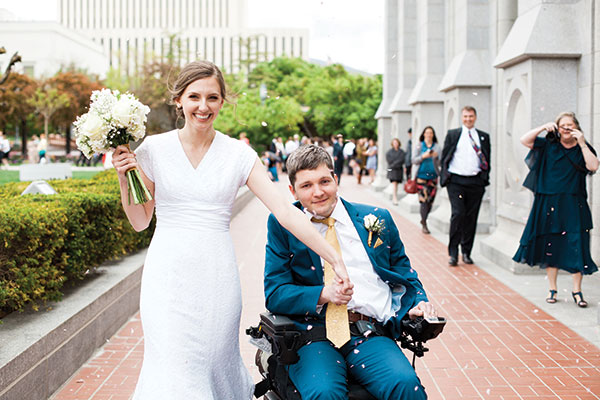 After being bucked off a horse a week before his wedding, Jared Workman spent two months in a coma while his fiancée clung to hope and faith. A year later, the two wed. (Photo by Jocelyn Horne Photography)