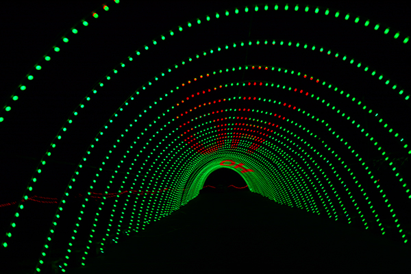 One of the tunnels in the Christmas in Color display has a special message from Santa Claus that flows through the light display. (Photo by Halee Lane/UV360)