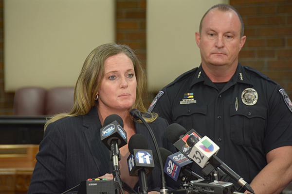 Kimberly Bird, spokesperson for Alpine School District, answers questions at the press conference following the stabbing at Mountain View High School that left six students injured. Orem Police Department Chief of Police Gary Giles, right, also answered questions at the press conference. (Photo by Rebecca Lane/UV360)