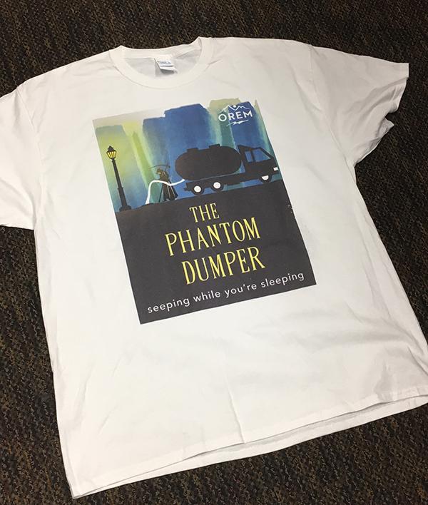 Orem made a few Phantom Dumper T-shirts to raise awareness about the city's problem dumper. (Photo courtesy Orem City)