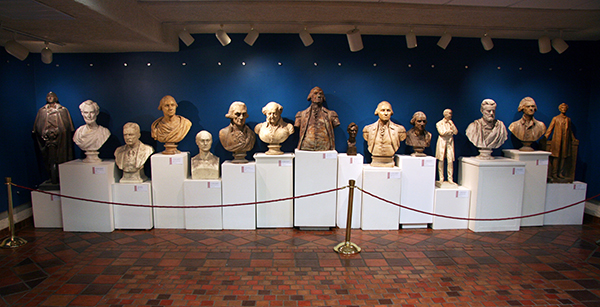 "Plaster busts of former presidents who served between 1890-1927 are part of the ""Rock the Vote"" display (Image courtesy Springville Museum of Art)"