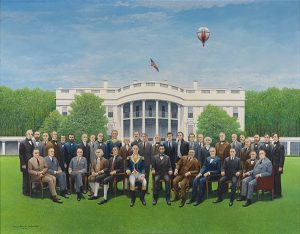 """Ralph Hewett Schofield's painting, """"A Meeting of the American Presidents,"""" is an acrylic on canvas painting from 1978 that is part of the """"Rock the Vote"""" display. (Image courtesy Springville Museum of Art)"""