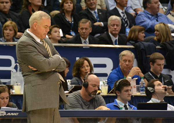 BYU head basketball coach Dave Rose hangs his head during the BYU-UVU game. BYU lost to UVU 114–101. (Photo by Rebecca Lane/UV360)