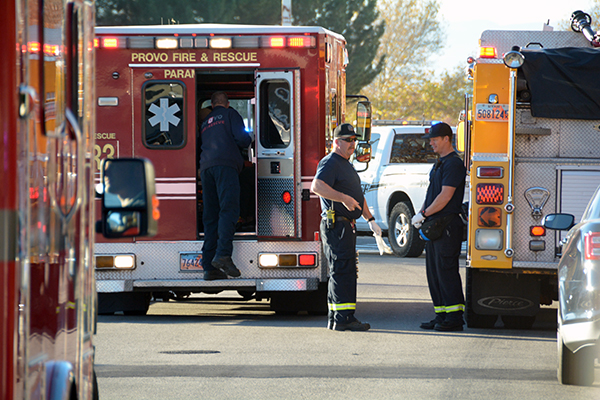 Provo Fire and Rescue get the last injured student in the ambulance to take to the hospital on Tuesday, Nov. 15, 2016. There were five students stabbed, one student with an abrasion to the head and the suspect with cuts on his neck. (Photo by Rebecca Lane)