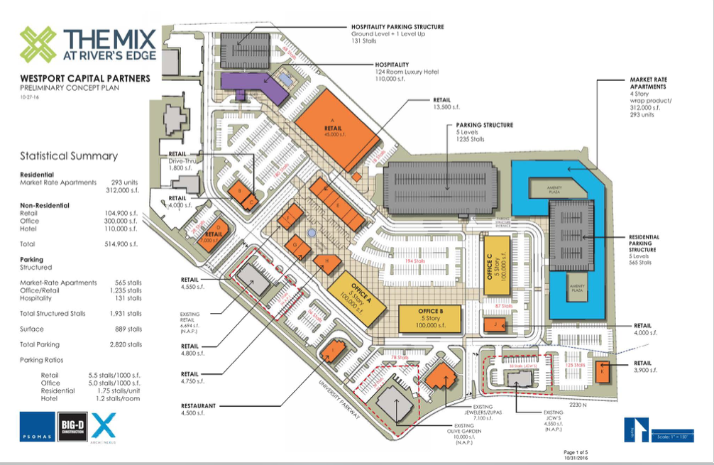 The Mix, the former Plumtree Plaza, will demolish and reconstruct more of the area. Click on the image to see a larger version. (Image courtesy Big D Construction)