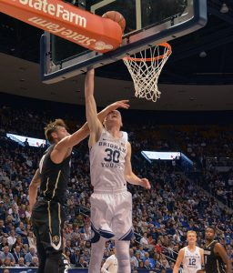 TJ Haws goes for the layup. Haws has 16 points, 5 rebounds and 4 assists. (Photo by Rebecca Lane/UV360)