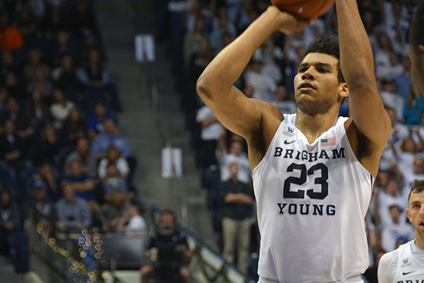 BYU freshman Yoeli Childs had a career-high 19 points and 12 rebounds in the win over CSU Bakersfield Thursday night. (Photo by Rebecca Lane/UV360)