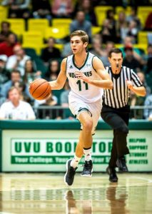 Conner Toolson's college basketball career is off to a strong start at UVU. (Photo by Jay Drowns, UVU Marketing)
