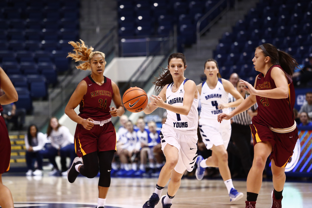 BYU Sophomore Brenna Chase Dribbles The Ball Up The Court. Chase Has  Emerged As BYUu0027s Second Leading Scorer This Season. (Photo By BYU Photo)
